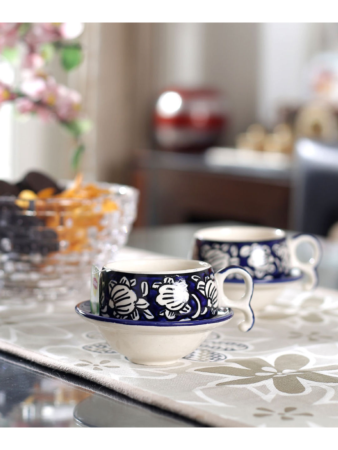 Moroccon Blue Ceramic Cups with Saucers Set