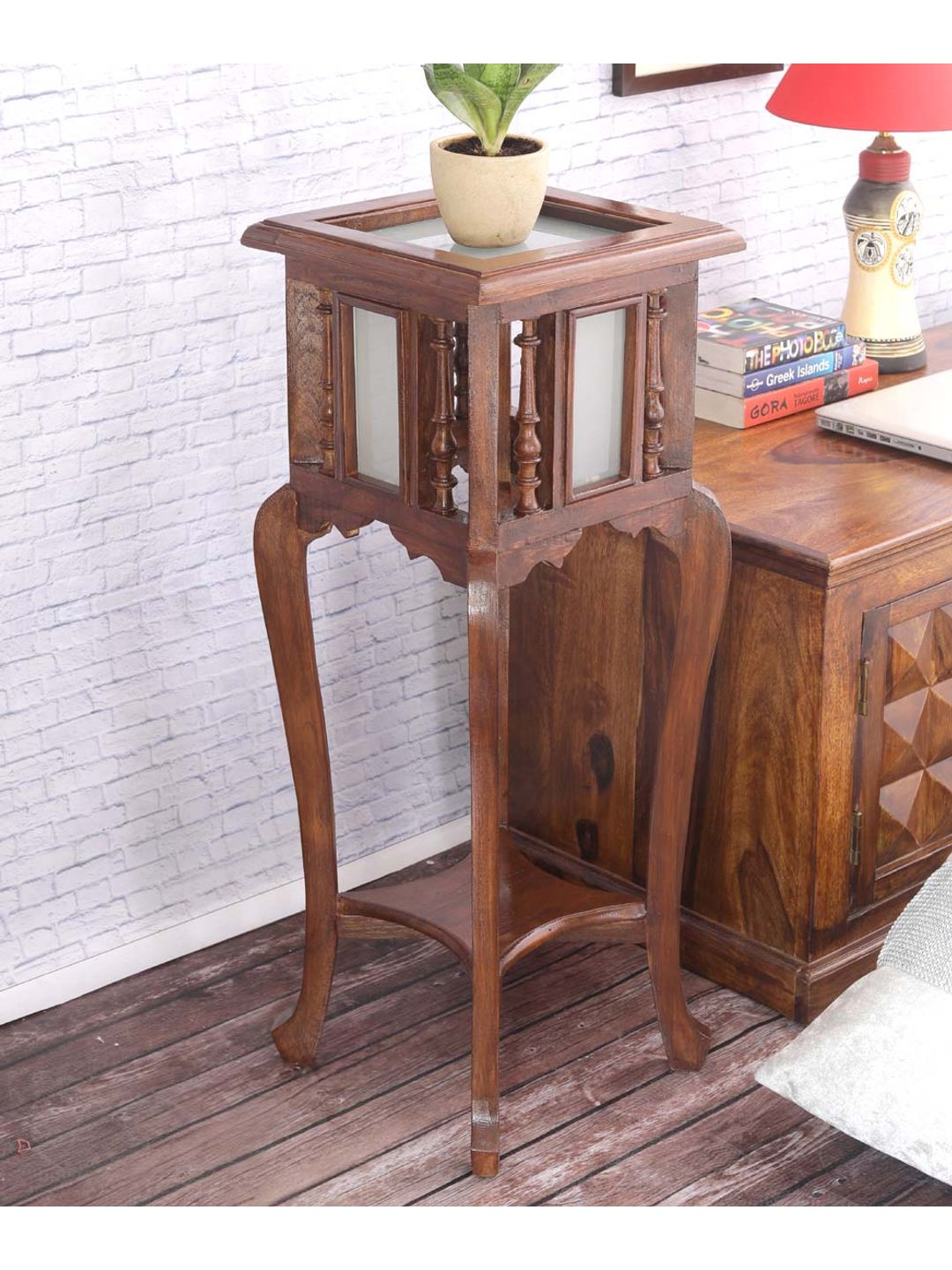 VarEesha Antique Look Recycled Teak Wood 30 Inch Planter Table