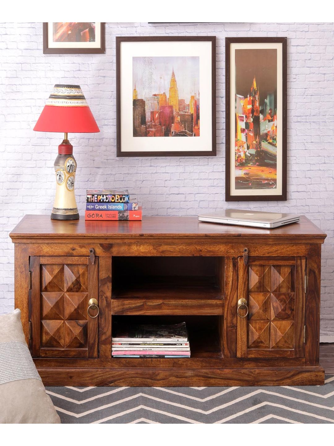 Hand Crafted Sheesham Wood Entertainment Unit
