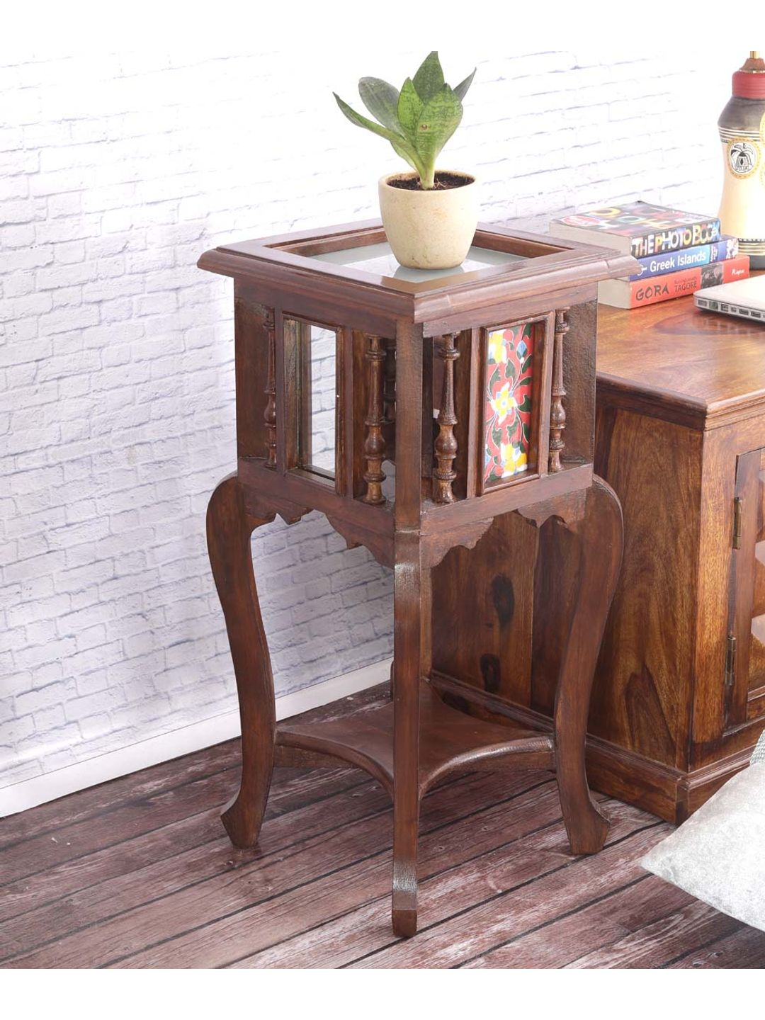 VarEesha Handmade Teak Wood Tiled End Table
