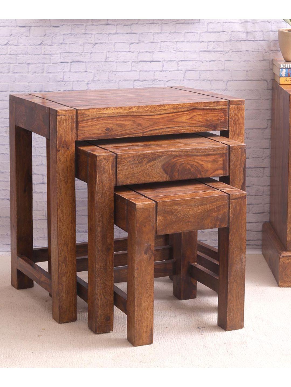 Hand Made Sheesham Wood Nesting Tables Set of Three