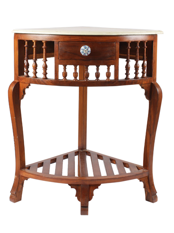 Teak Wood Corner Table with Marble Top