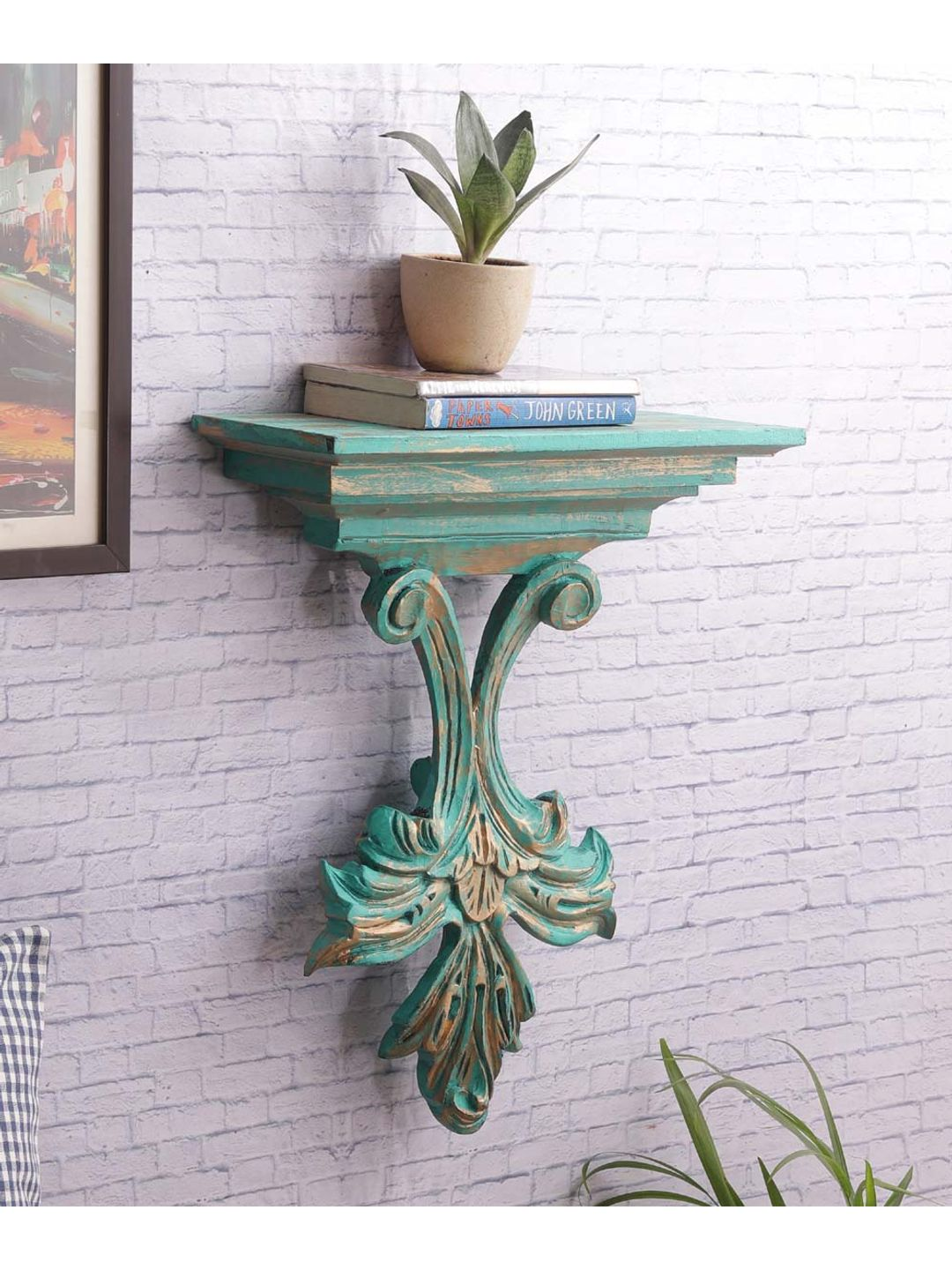 Hand Painted Pine Wood Green Wall Shelf