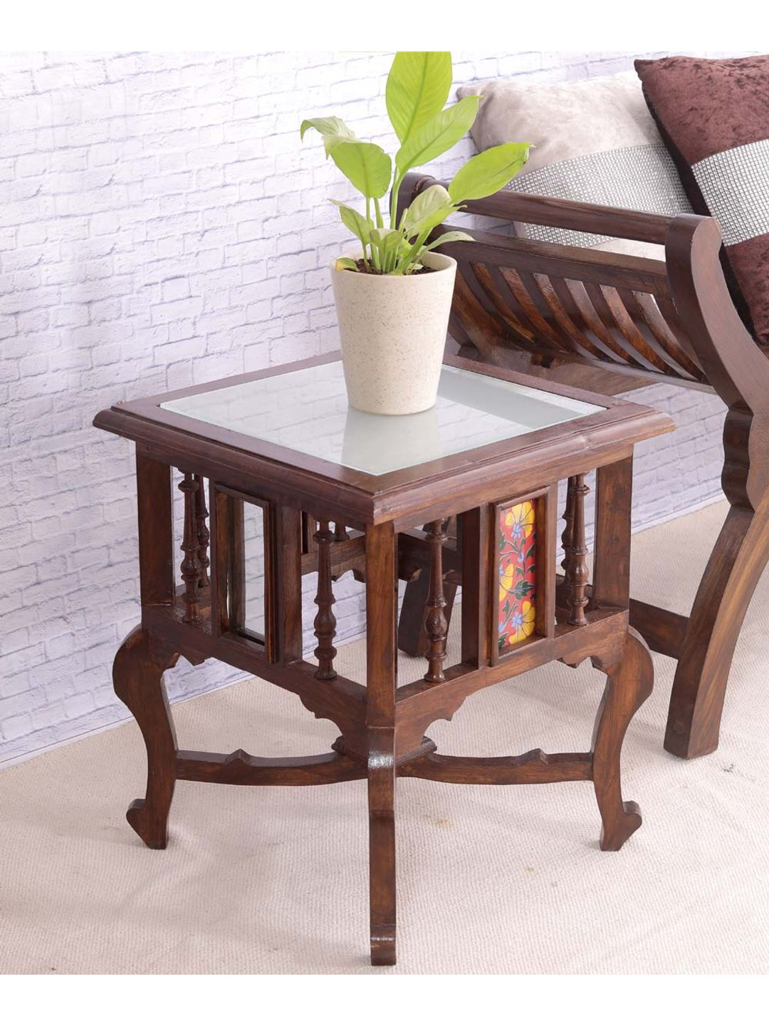 Hand Crafted Teak Wood 18 inch Tile Table