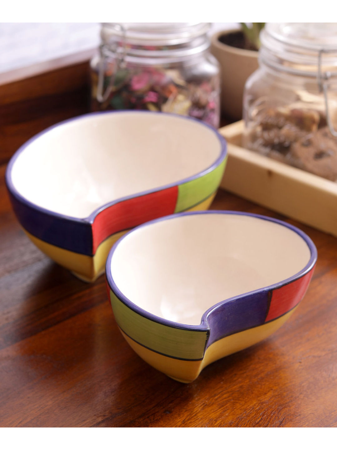 Multicolored Ceramic Paisley Serving Dishes Set of Two