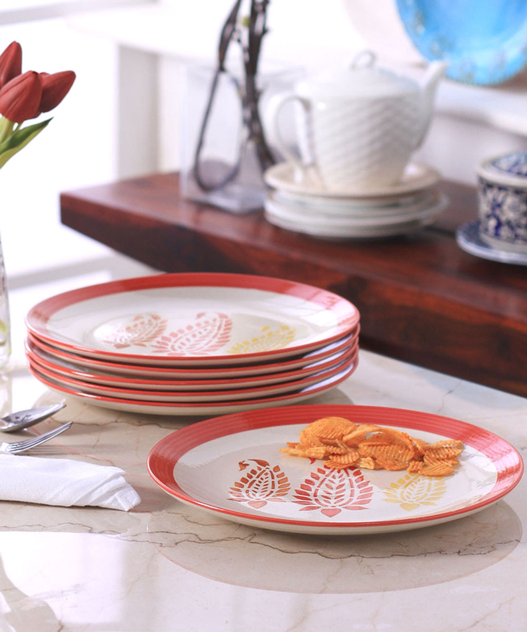 Red Paisley Ceramic Full Plates Set of Six & Red Paisley Ceramic Full Plates Set Of Six | Vmikw051