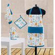 Multi Printed Apron Set (Pack of 4 Pc) by Dekor World (MORE COLOR)