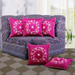 Floral Embroidery Cushion Cover (Pack of 5 Pcs)(More Color)