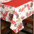 Dekor World Floral  Printed Orange Table Cover With Place Mat & Napkin (Pack of 13)