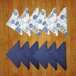 Floral Plain Printed Blue Napkin Set (Pack of 12)By Dekor World