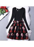 Long Sleeve Doll Print Dress