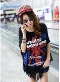 Black Printed Tassel Decorated T-Shirt