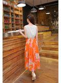 Cute Orange Maxi Dress With Belt