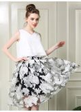 V-Neck Chiffon Two Piece Dress