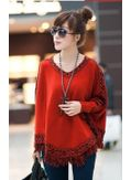 Stylish Knitted Poncho -Red- KP001405
