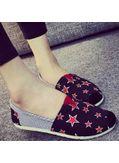 Star Printed Loafers - Black-KP001383
