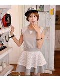 Grey Patchwork Lace Dress