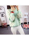 Cute Floral Design Sweater - Green