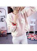 Cute Floral Design Sweater - Pink