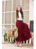 Stylish Dark Red Two Piece Maxi Dress Top + Skirt