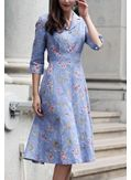 Turndown Neck Floral Dress - KP001503