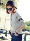 Button Design Long Sleeve T-shirt - KP001579