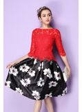 Cute Lace Blouse Red- KP001582