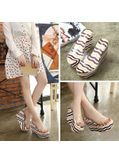 Stripped Colorful Wedge Slippers - KP001749