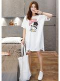 Cartoon Print T-shirt Dress -KP001889