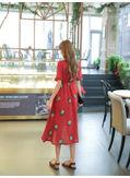 Red Floral Dress - KP001979