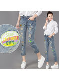 Ripped Patchwork Denim Jeans - KP002006