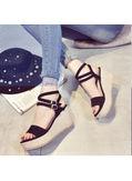 Cross Buckle Wedge Sandals -  KP001893