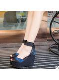 Denim + PU Wedge Sandals - KP001903