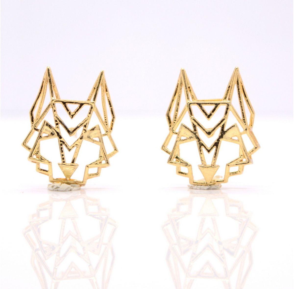 Aseem Gioielli Gold Dog Earrings