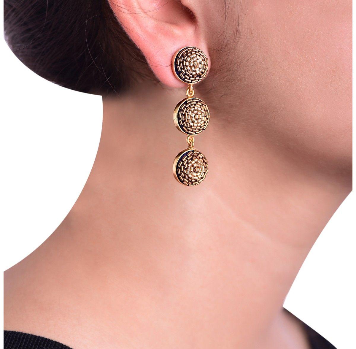 Akihi Gold Beaded Earrings
