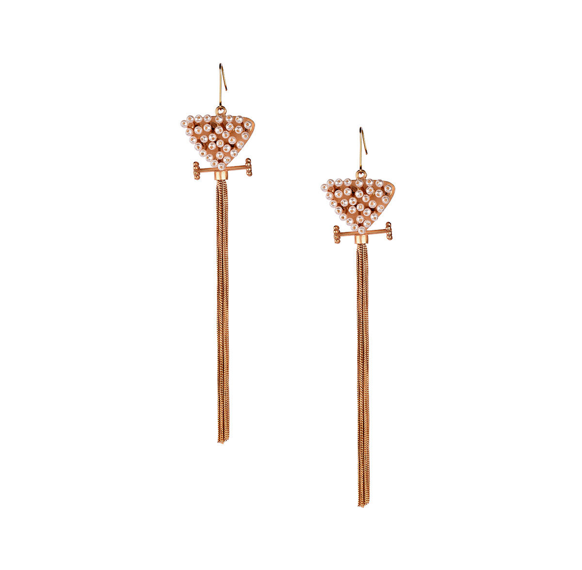 bad7506840e Buy Suhani PittieGold Plated Triangle Wire Pearls Earring With Stud And  Tassel