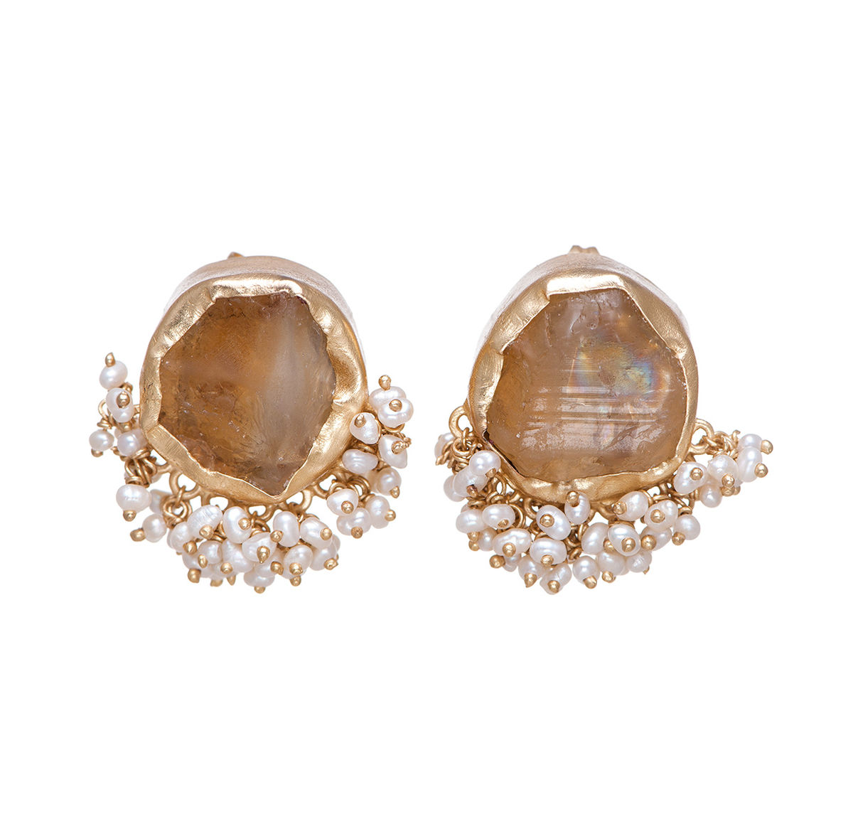 citrine image square yellow gold stud claw set earrings four