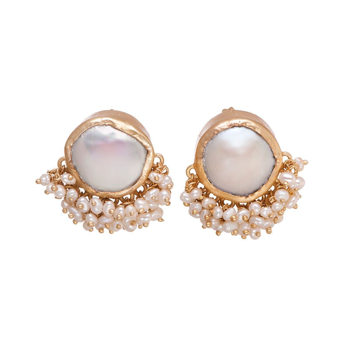 stud on gold pearl cream baroque white earrings