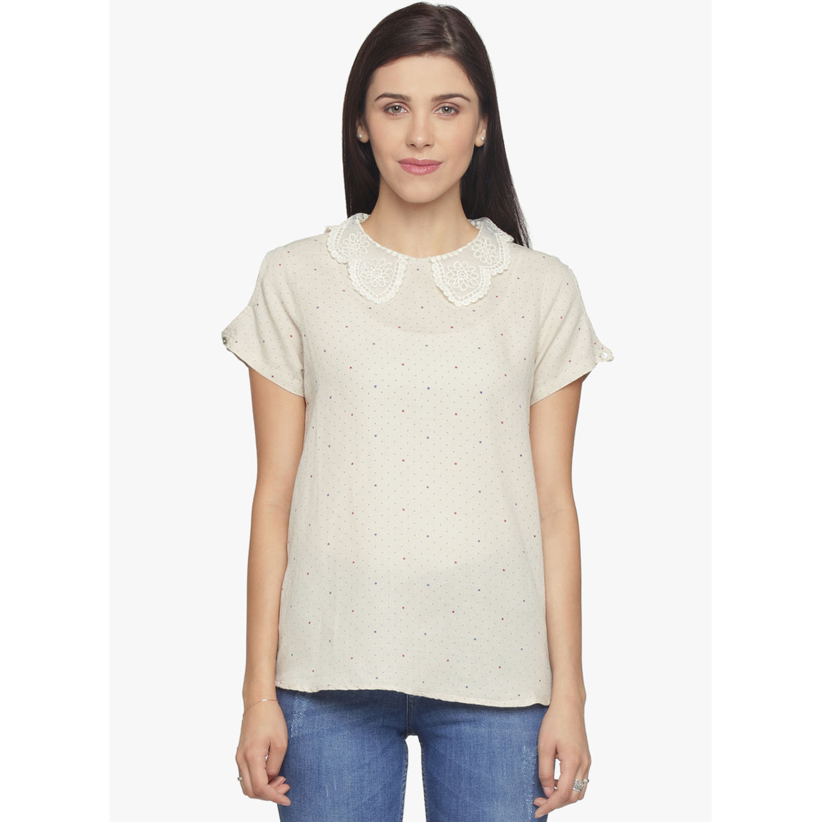 LINEN PETER PAN COLLAR CROP TOP