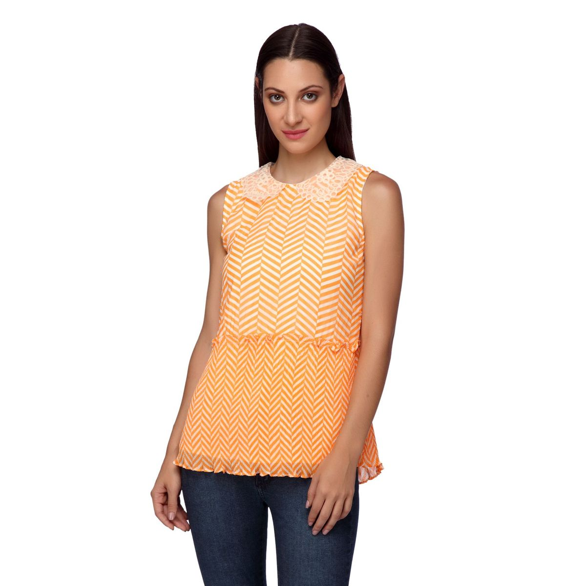 ALICE LACE COLLAR PLEATED TOP