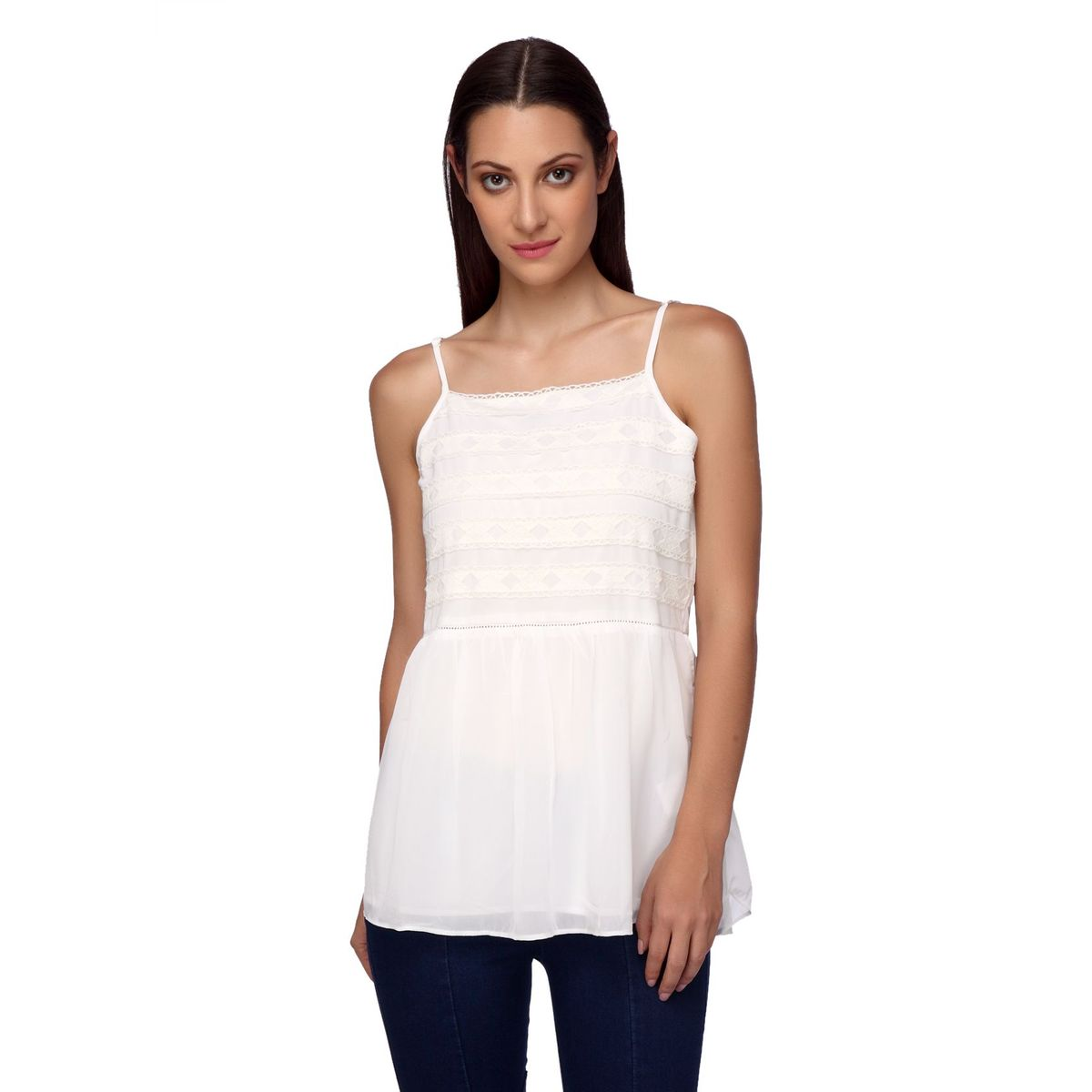 CHLOE YOKE LACE INSERT STRAPPY TOP