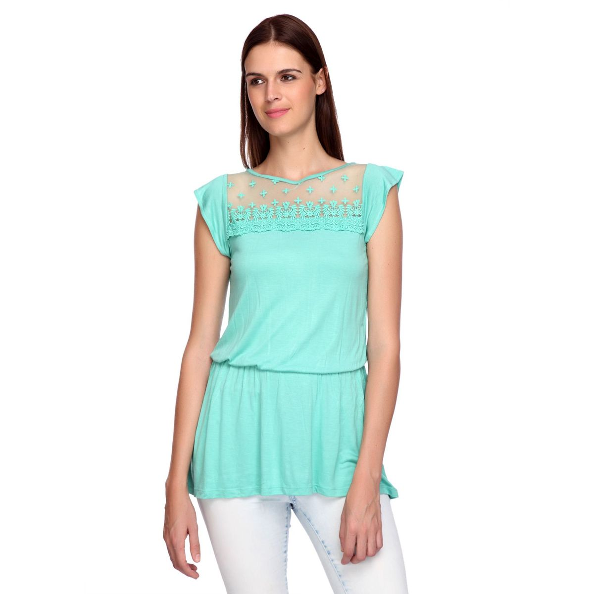 KATIE FRONT YOKE LACE TOP