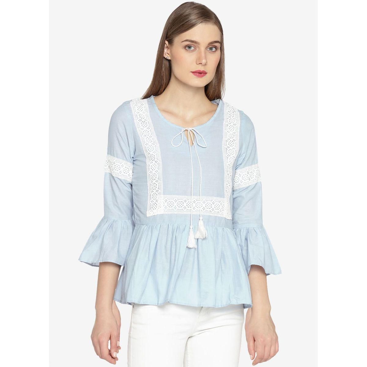 AUSTRA LACE GATHER TOP