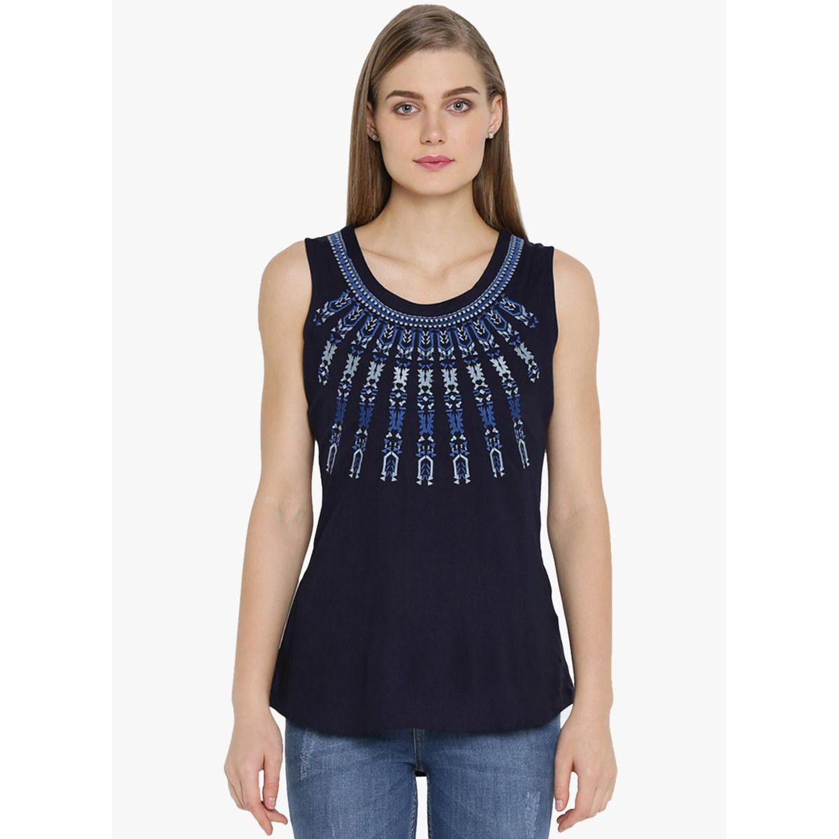 RAYON SOLID EMBROIDERY TOP