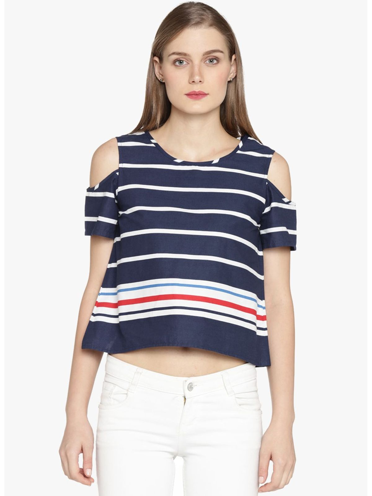 KAIRA STRIPE COLD SHOULDER TOP