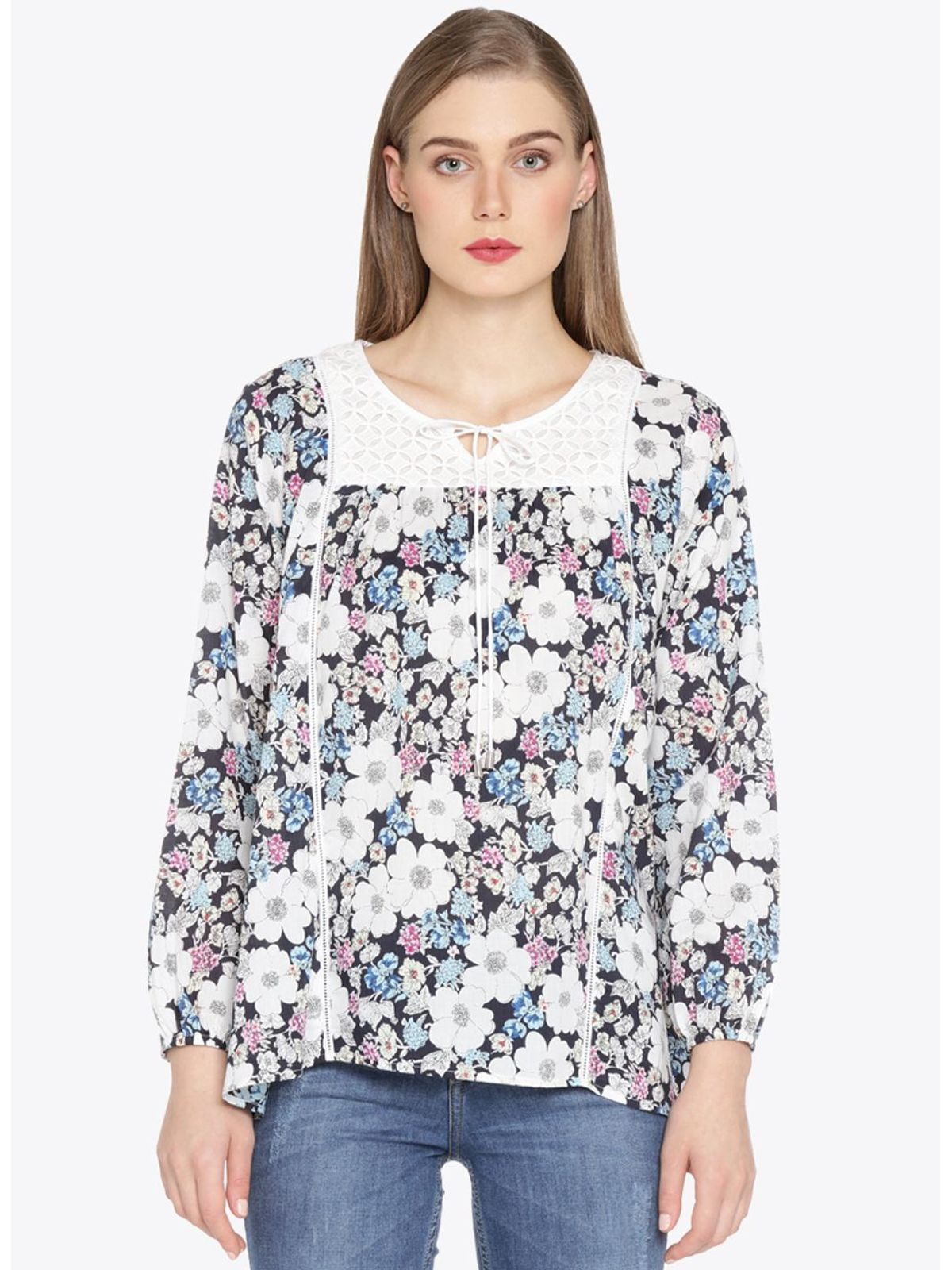 TINA PRINTED CAMBRIC TOP