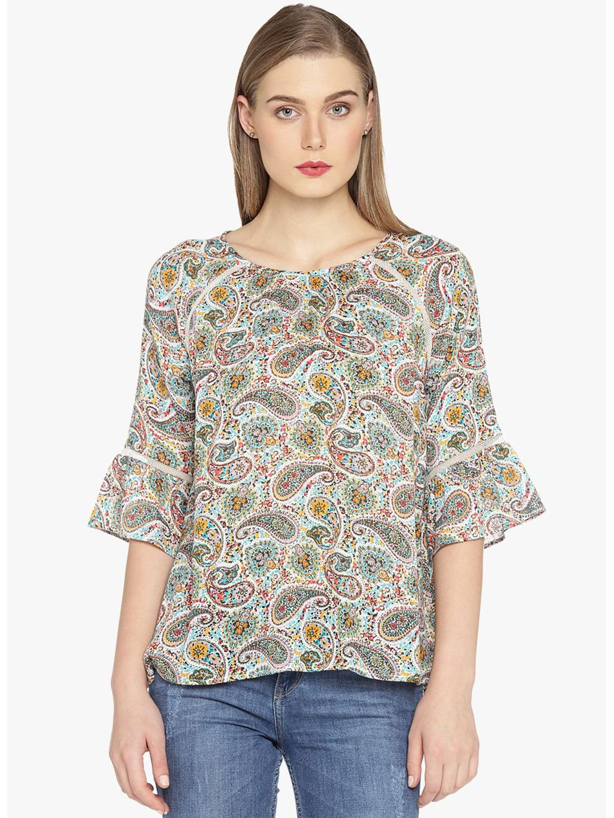 FLONA PRINTED BELL SLEEVE TOP