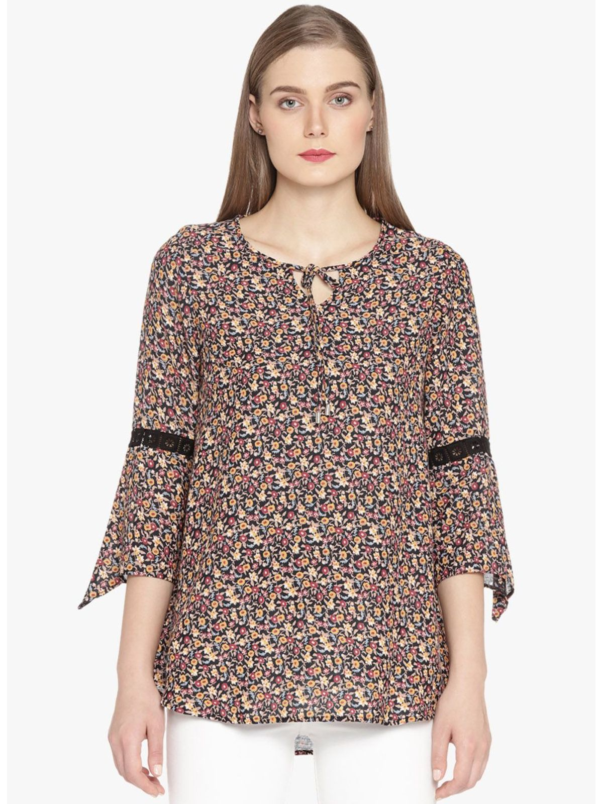 TINA PRINTED BELL SLEEVE TOP