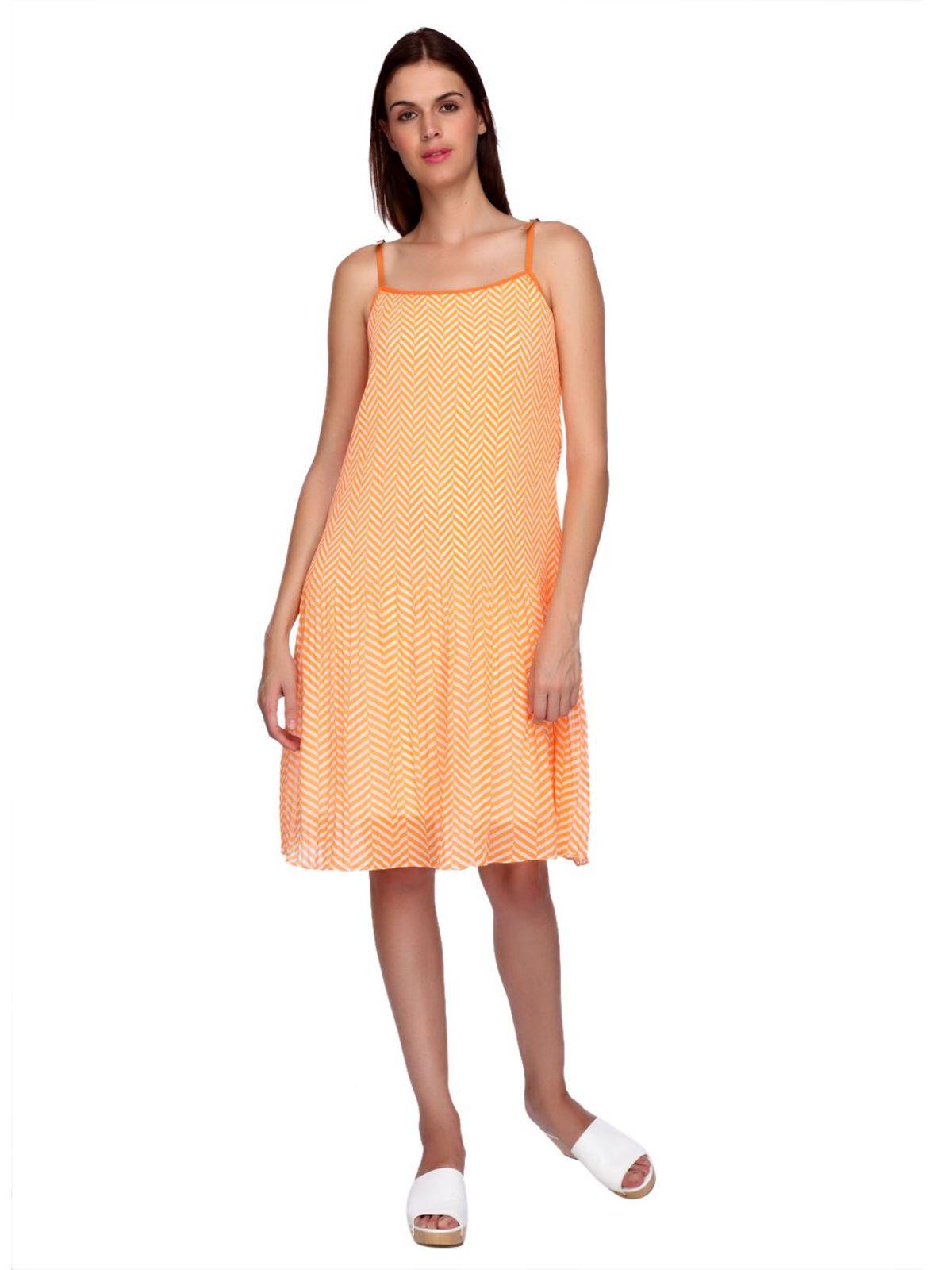 AMY PLEATED STRIPES DRESS