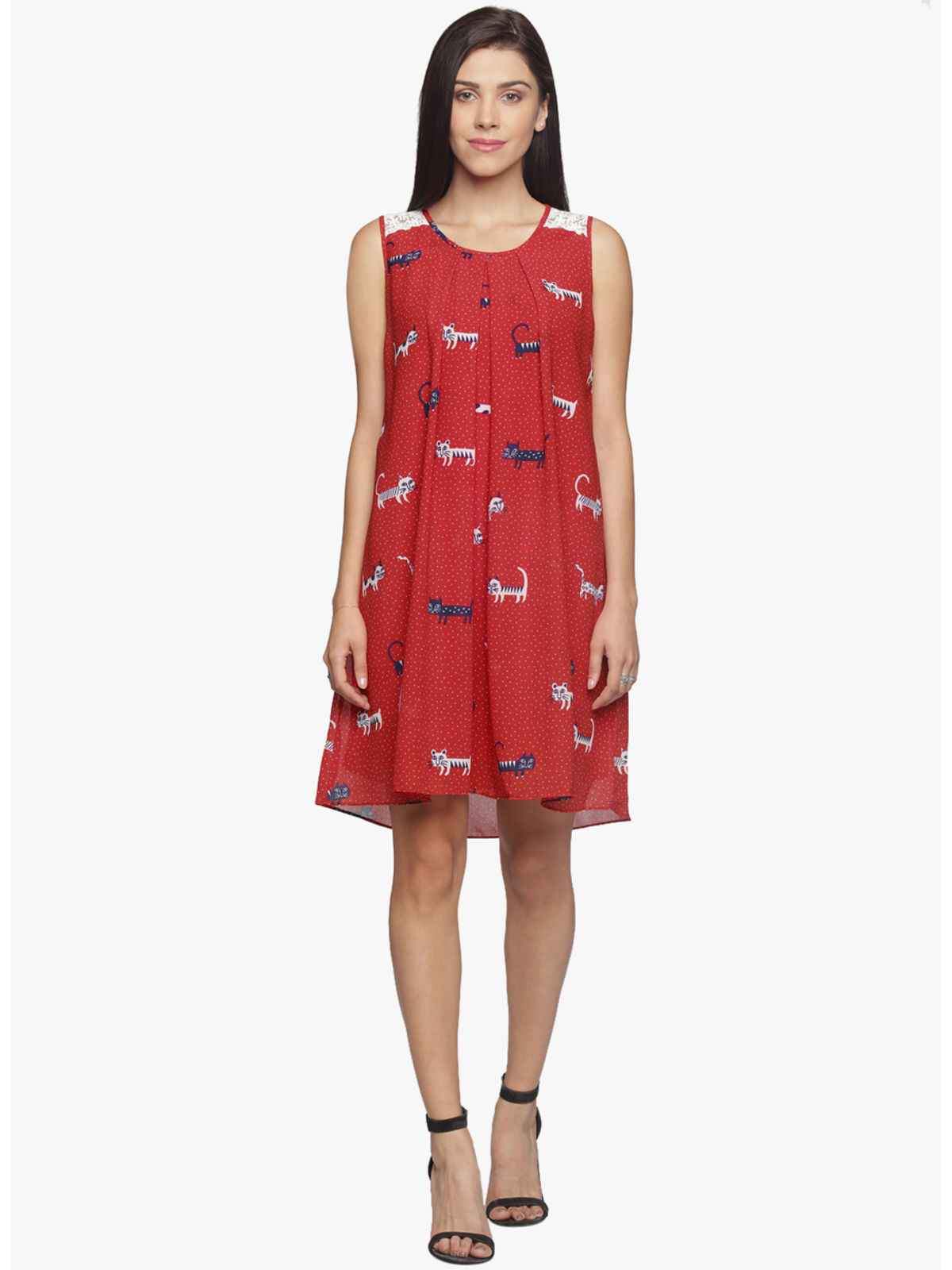 EVE FRONT PLEATED RED DRESS
